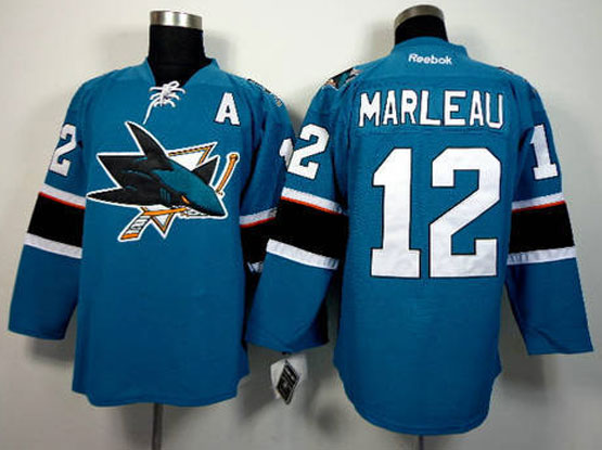 Mens reebok nhl san jose sharks #12 marleau green (2014 new) with a Jersey