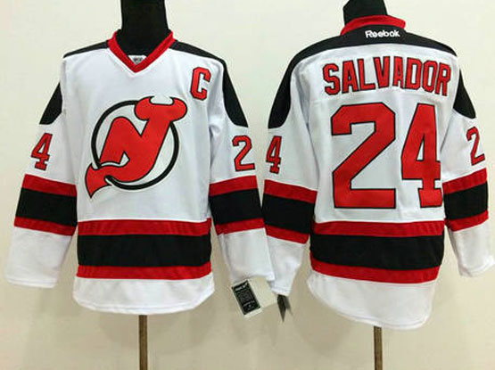 Mens reebok nhl new jersey devils #24 salvador white c patch Jersey