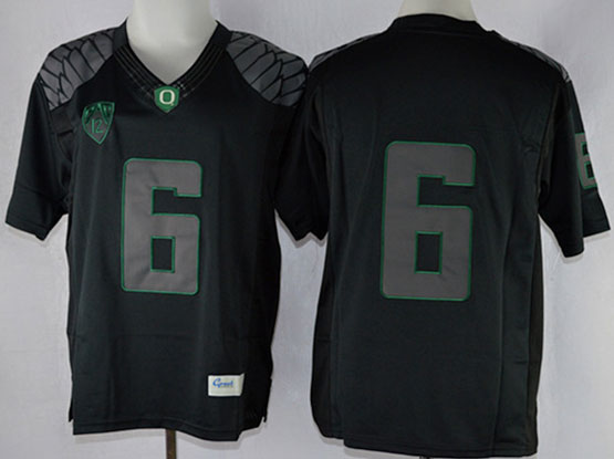 Mens Ncaa Nfl Oregon Ducks #6 Nelson Black (gray-green Number) Limited Jersey