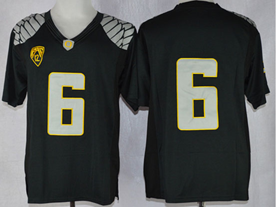 Mens Ncaa Nfl Oregon Ducks #6 Nelson Black (light Gray-yellow Number) Limited Jersey