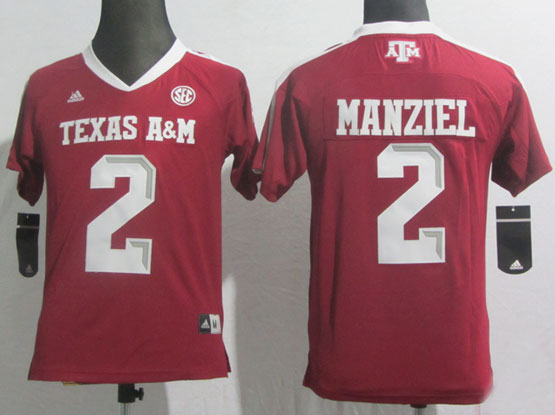 Youth Ncaa Nfl Texas A&m Aggies #2 Manziel Red Jersey