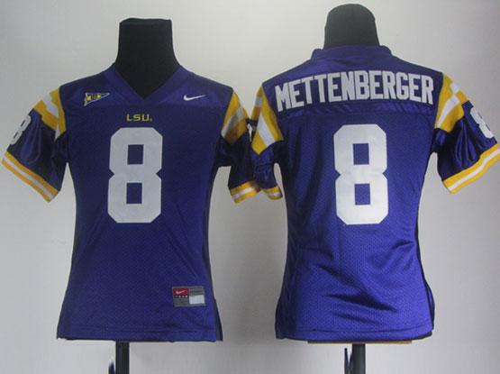 Women Ncaa Nfl Lsu Tigers #8 Mettenberger Purple Jersey