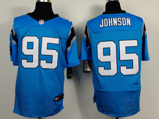 Mens Nfl Carolina Panthers #95 Johnson Light Blue Elite Jersey