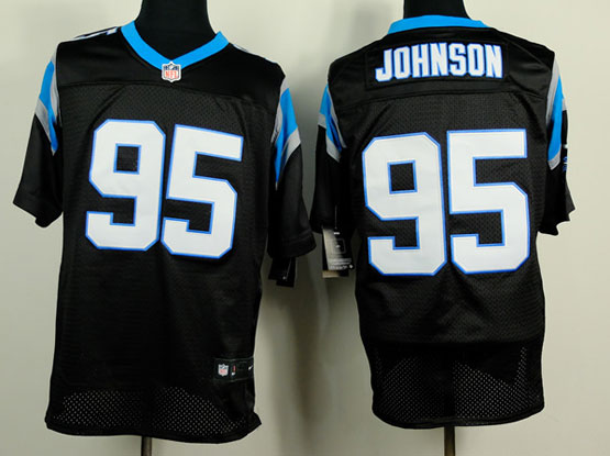 Mens Nfl Carolina Panthers #95 Johnson Black Elite Jersey