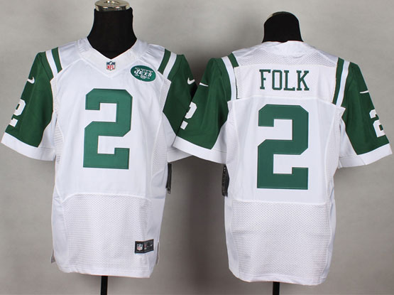 Mens Nfl New York Jets #2 Folk White Elite Jersey
