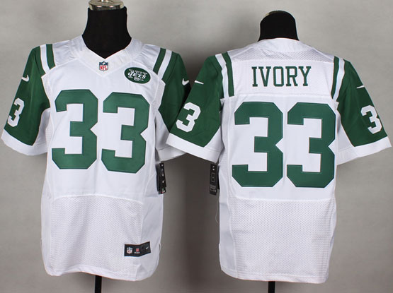 Mens Nfl New York Jets #33 Ivory White Elite Jersey