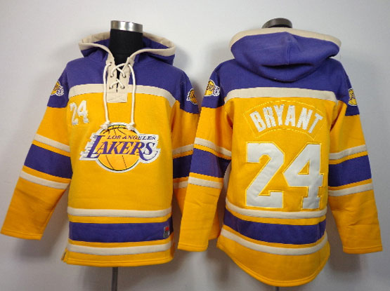 Mens Nba Los Angeles Lakers #24 Bryant Gold&purple Team Logo Hoodie Jersey