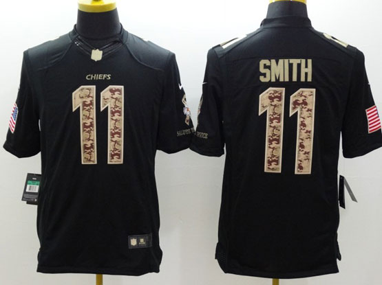 Mens Nfl Kansas City Chiefs #11 Smith Salute To Service Black Limited Jersey