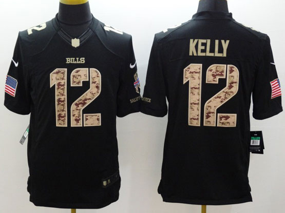 mens nfl Buffalo Bills #12 Jim Kelly salute to service black limited jersey
