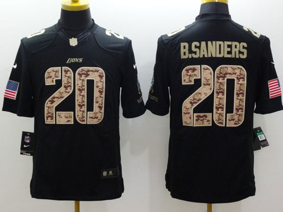 mens nfl Detroit Lions #20 Barry Sanders salute to service black limited jersey