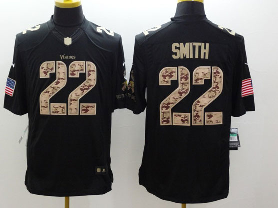 Mens Nfl Minnesota Vikings #22 Smith Salute To Service Black Limited Jersey