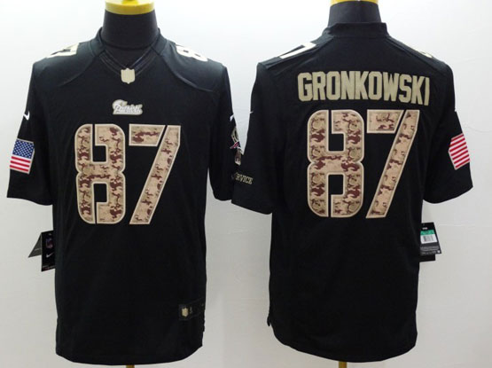 Mens Nfl New England Patriots #87 Gronkowski Salute To Service Black Limited Jersey