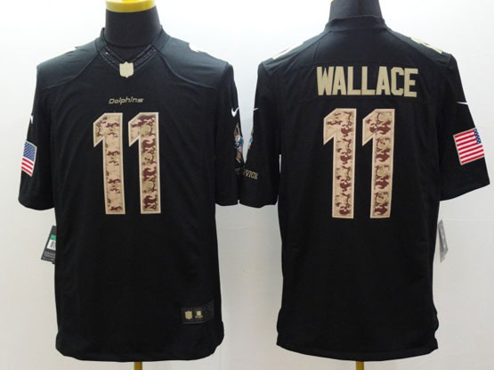 Mens Nfl Miami Dolphins #11 Wallace Salute To Service Black Limited Jersey