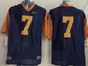 Mens Ncaa Nfl Notre Dame Fighting Irish #7 Tuitt Dark Blue (2014 New Gold Number) Jersey