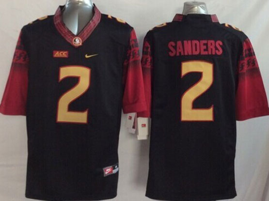 Mens Ncaa Nfl Florida State Seminoles #2 Sanders Black (2014 New Gold Number) Limited Jersey