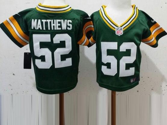 Kids Nfl Green Bay Packers #52 Matthews Green Jersey