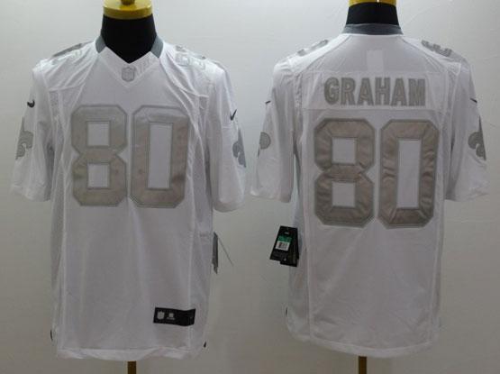 Mens Nfl New Orleans Saints #80 Graham White (silver Number) Platinum Limited Jersey