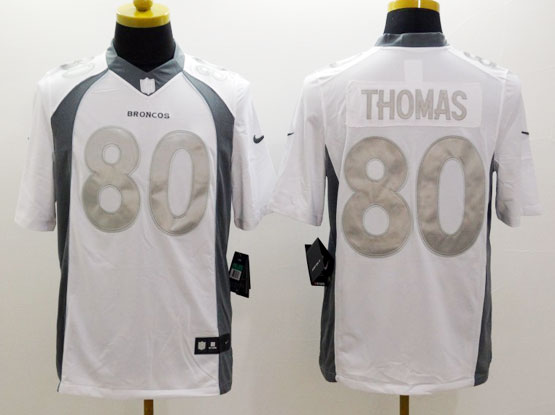 Mens Nfl Denver Broncos #80 Thomas White (silver Number) Platinum Limited Jersey