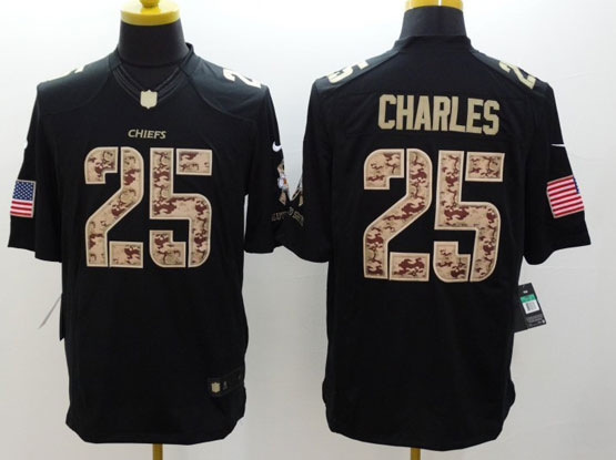 Mens Nfl Kansas City Chiefs #25 Charles Salute To Service Black Limited Jersey