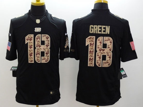 Mens Nfl Cincinnati Bengals #18 Green Salute To Service Black Limited Jersey