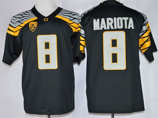 Mens Ncaa Nfl Oregon Ducks #8 Mariota Black Mach Speed (2014 New) Limited Jersey