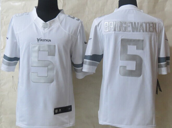 Mens Nfl Minnesota Vikings #5 Bridgewater White (silver Number) Platinum Limited Jersey