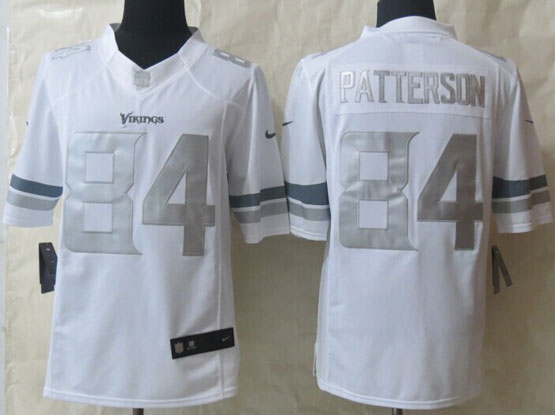 Mens Nfl Minnesota Vikings #84 Patterson White (silver Number) Platinum Limited Jersey