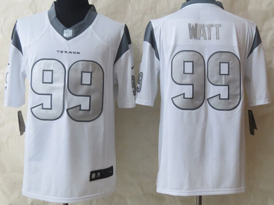 mens nfl Houston Texans #99 JJ Watt white (silver number) platinum limited jersey