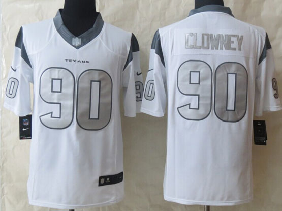Mens Nfl Houston Texans #90 Clowney White (silver Number) Platinum Limited Jersey