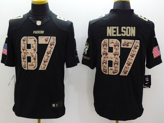 Mens Nfl Green Bay Packers #87 Nelson Salute To Service Black Limited Jersey