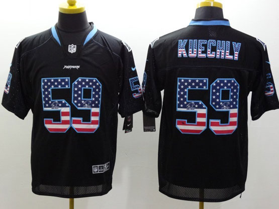 Mens Nfl Carolina Panthers #59 Kuechly Black (2014 Usa Flag Fashion) Elite Jersey