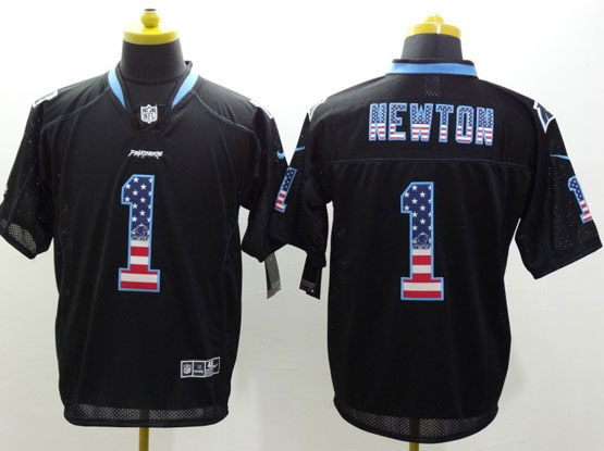 mens nfl Carolina Panthers #1 Cam Newton black (2014 usa flag fashion) elite jersey