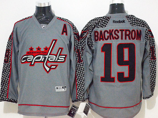 Mens Reebok Nhl Washington Capitals #19 Backstrom Gray Cross Check Premier Fashion Jersey