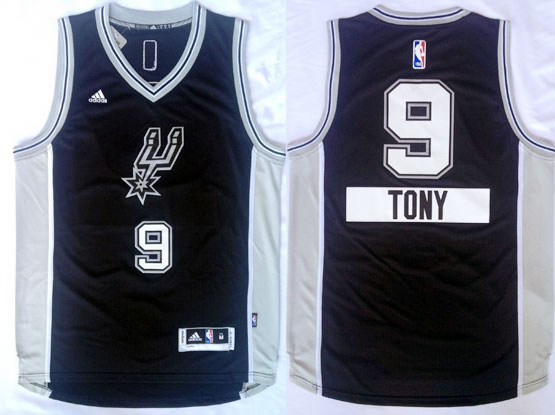Mens Nba San Antonio Spurs #9 Tony (2014 New Christmas) Black Jersey