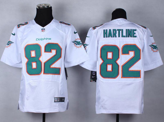 Mens Nfl Miami Dolphins #82 Hartline White (2013 New) Elite Jersey