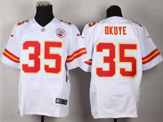 Mens Nfl Kansas City Chiefs #35 Okoye White Elite Jersey