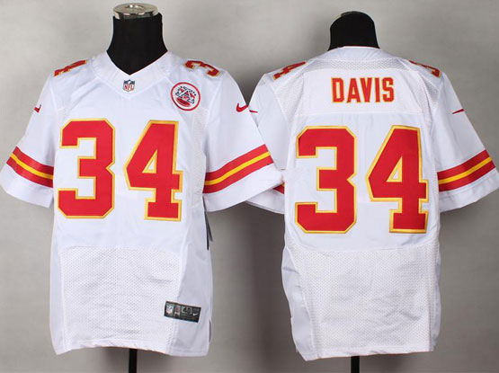 Mens Nfl Kansas City Chiefs #34 Davis White Elite Jersey