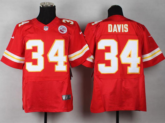 Mens Nfl Kansas City Chiefs #34 Davis Red Elite Jersey