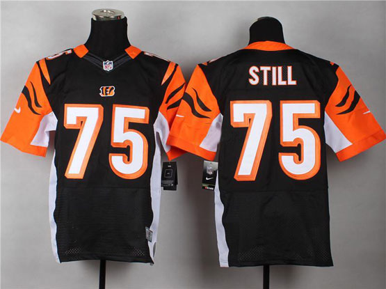 Mens Nfl Cincinnati Bengals #75 Still Black Elite Jersey