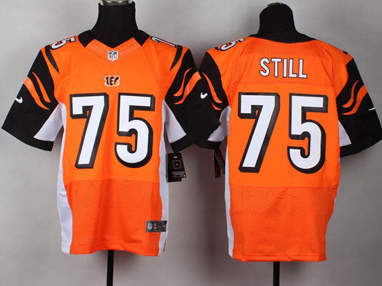 Mens Nfl Cincinnati Bengals #75 Still Orange Elite Jersey