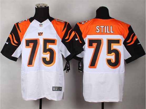 Mens Nfl Cincinnati Bengals #75 Still White Elite Jersey