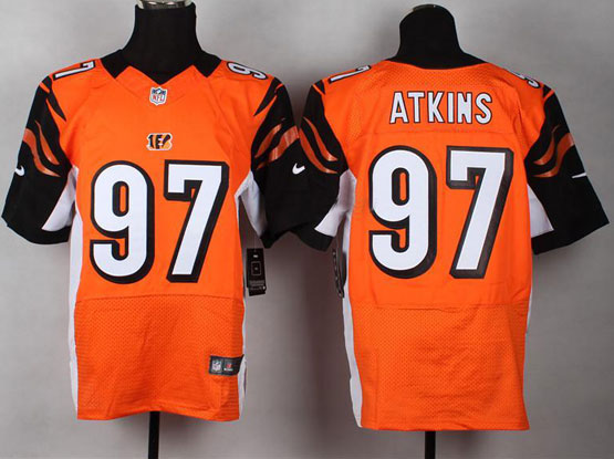 Mens Nfl Cincinnati Bengals #97 Atkins Orange Elite Jersey