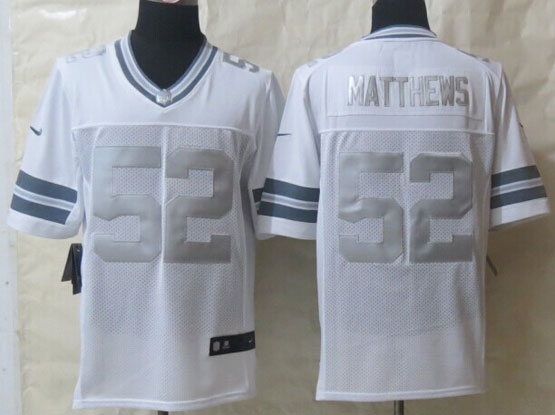 Mens Nfl Green Bay Packers #52 Matthews White (silver Number) Platinum Limited Jersey