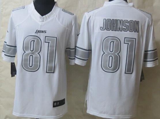 Mens Nfl Detroit Lions #81 Johnson White (silver Number) Platinum Limited Jersey