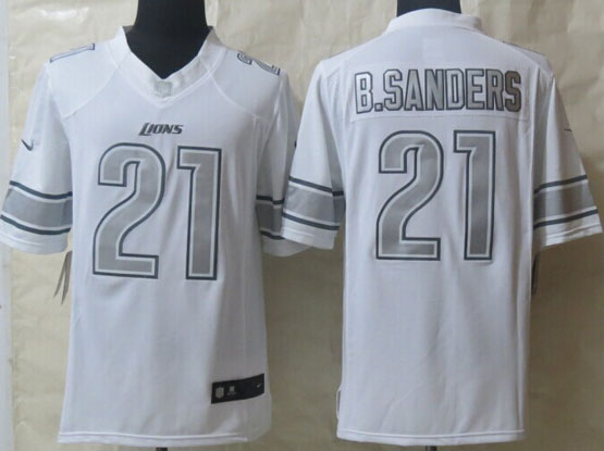 Mens Nfl Detroit Lions #21 B.sanders White (silver Number) Platinum Limited Jersey