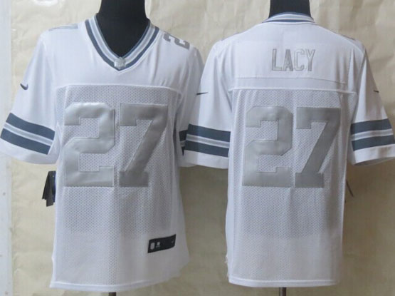 Mens Nfl Green Bay Packers #27 Lacy White (silver Number) Platinum Limited Jersey