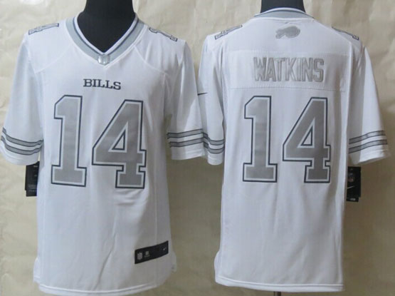 mens nfl Buffalo Bills #14 Sammy Watkins white (silver number) platinum limited jersey