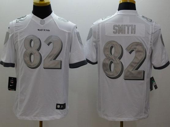Mens Nfl Baltimore Ravens #82 Torrey Smith White (silver Number) Platinum Limited Jersey