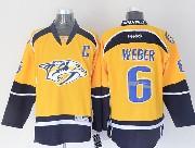 Mens reebok nhl nashville predators #6 weber yellow c patch Jersey