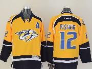 Mens reebok nhl nashville predators #12 fisher yellow (2014 new) a patch Jersey